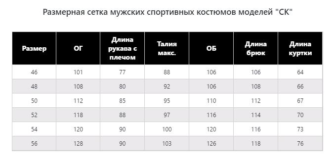 Таблица размеров СК