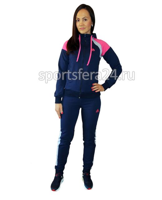 Женский спортивный костюм синий с розовыми вставками