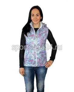 Фото женского утепленного жилета с фиолетовым принтом