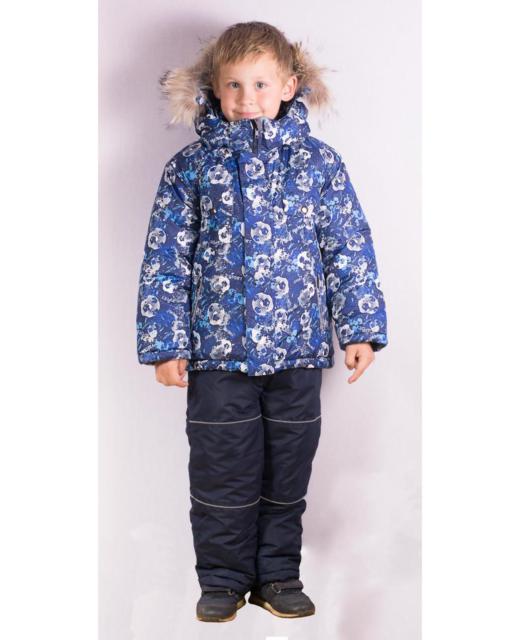 Фото детский зимний костюм с натуральным мехом, принт голубо/синий мячики