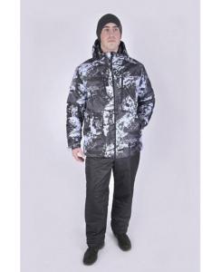 Фото мужского зимнего серо-черного костюма