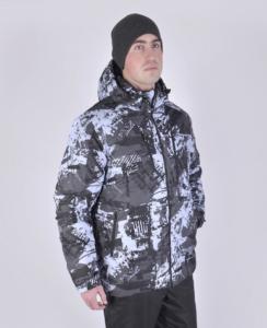 Мужской зимний костюм K129 серый/черный фото