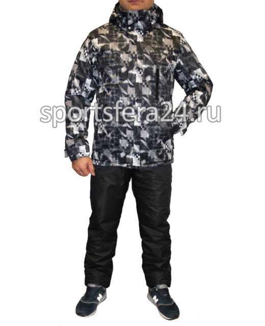 Мужской зимний костюм Айсберг черно-белый фото