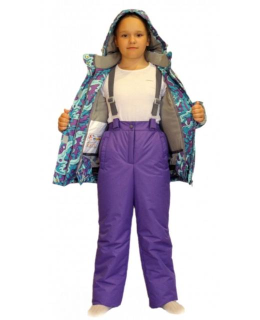 Фото зимнего костюма для девочки мембрана до -30 градусов SL162 голубой/фиолетовый