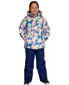 Фото девочки в зимнем розово-синем костюме SL165