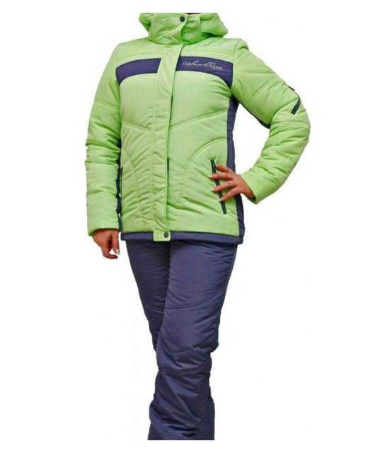 Фото зимнего прогулочного костюма r-131 салатовый/графит