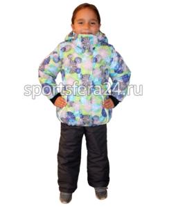 Фото зимнего детского комплекта с принтом сине-салатовые круги