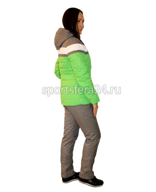Фото женского зимнего прогулочного костюма ATL15 зеленый/серый, вид сбоку