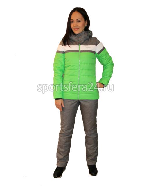 Фото женского зимнего прогулочного костюма ATL15 зеленый/серый