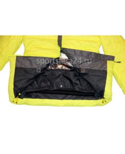 фото желтой зимней куртки, ветро и снегозащитная юбка