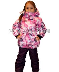 Фото зимнего костюма для девочки с принтом розовые круги