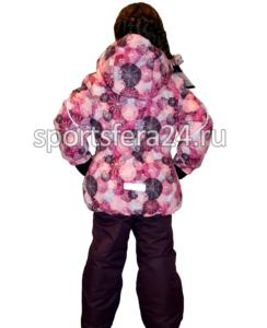 Фото вид сзади зимнего комплекта для девочки с принтом розовые круги