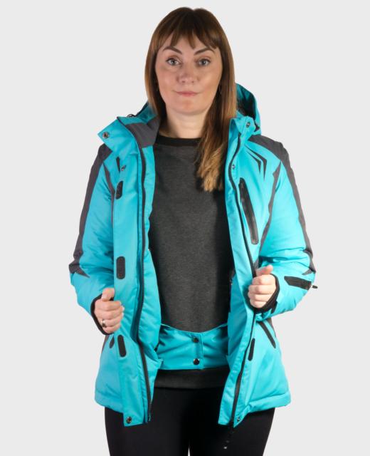 Куртка зимняя горнолыжная женская бирюза/графит